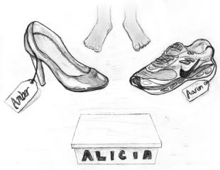 Since enrolling at Clarke Central High School, freshman Alicia Thomas has been associated with her older sister, Amber, and her older brother, Aaron. Instead of following in her older siblings' shoes, Alicia has decided to establish her own identity. Cartoon by Caleb Hayes.