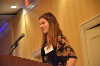 Junior Chloe Hargrave delivers a speech at this past weekend's SIPA convention. Photo by Carlo Nassise.